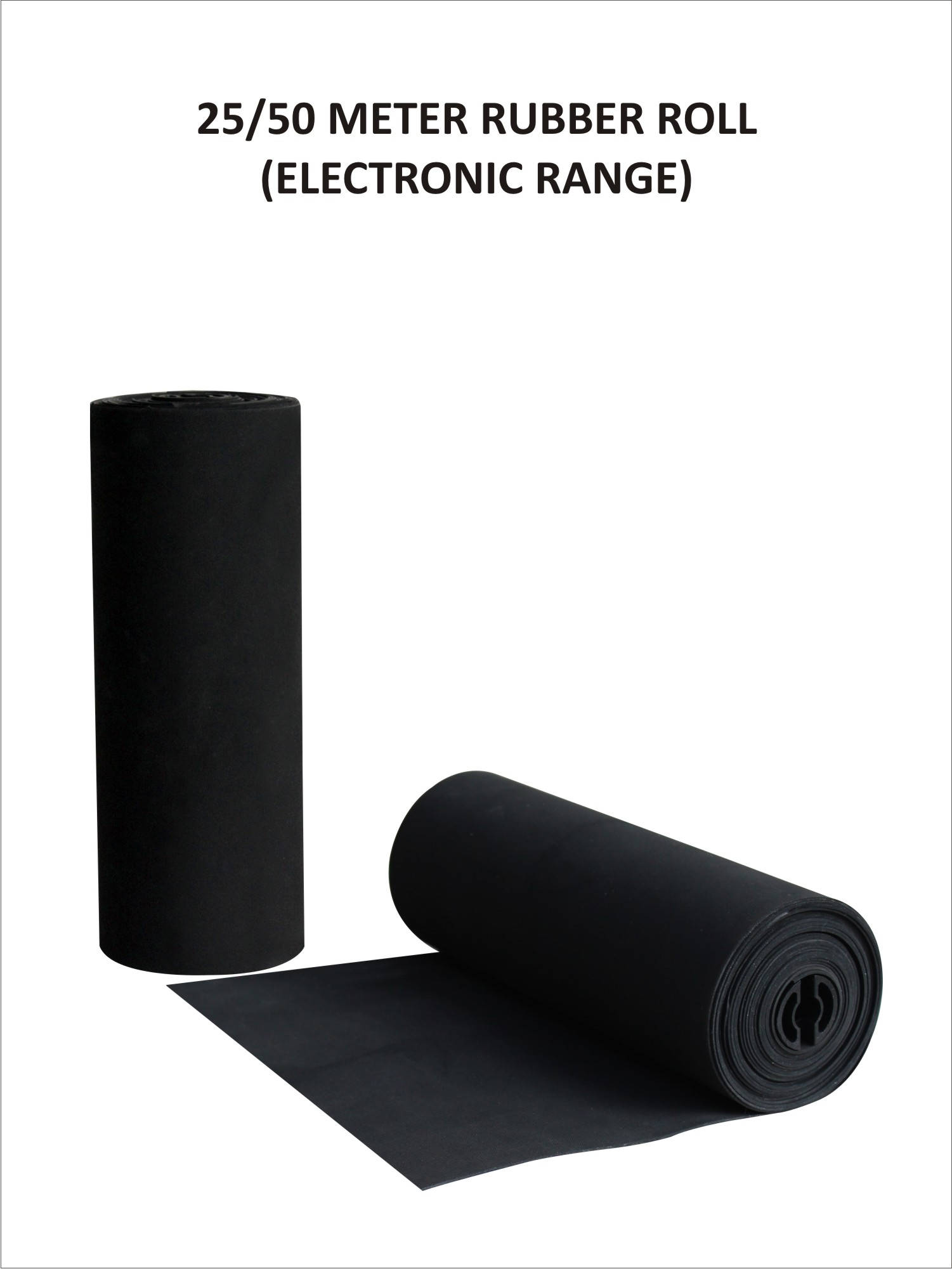 Black Rubber Roll (25 Metres)